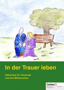 Zeichnung, zwei Menschen ohne Gesicht vor einer Bank unter einem Baum, Titel